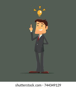 New idea businessman. Full editable for animation. Vector modern flat design character.