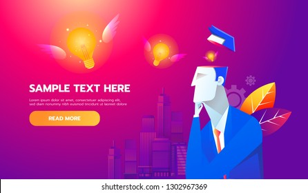 New Idea Concept. Flying bulb from businessman brain, flat design best vector icon