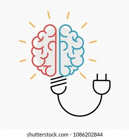 New idea concept illustration in modern outline design with human brain as electric light bulb. EPS10 vector.