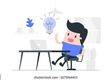 New idea concept. Young man working from Home. Business concept illustration.