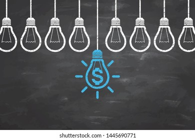 New Idea Finance Concepts with Light Bulb on Blackboard Background