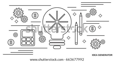 New Idea Generator Thin Line Art Stock Vector Royalty Free