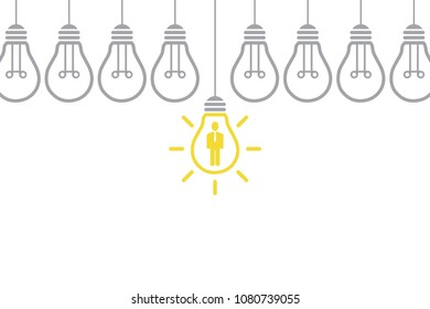 New Idea Human Resourses Concepts with Light Bulb
