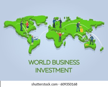 New ideas, search for investor, increased profits. People on the world map 3d. Business start-up work moments flat banner. Business situation. Vector illustration