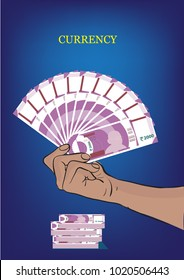 New Indian Currency in hand vector