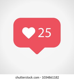 New Instagram Counter Notification Icon. Follower. New Icon like 25 symbol, button. Social media like 25 red color. Hearts 25, insta. Vector illustration. EPS 10