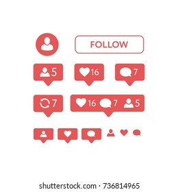 New instagram Like symbol, Message and notification set. vector