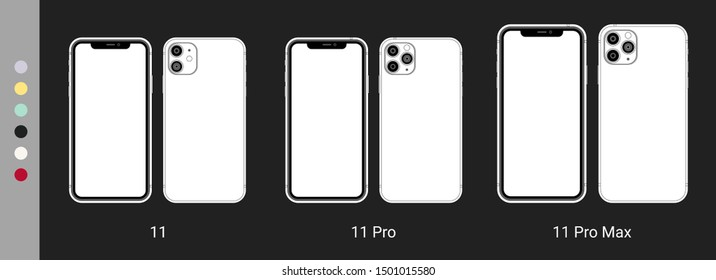 New Iphone 11 Pro Max vector flat graphic illustration. Smartphone mock up frameless blank screen isolated on background. Front and back side. Concept for app, web, presentation, UI/UX development.
