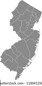 New Jersey county map vector outline gray background. Map of New Jersey state of United States of America with counties borders