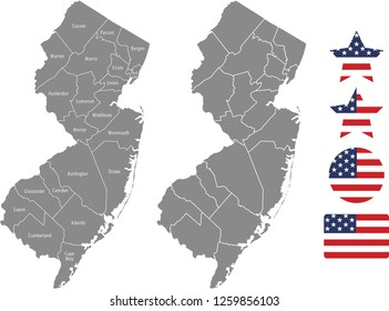 New Jersey county map vector outline in gray background. New Jersey state of USA map with counties names labeled and United States flag icon vector illustration designs