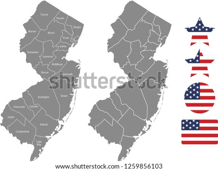 New Jersey County Map Vector Outline Stock Vector Royalty Free