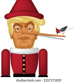 NEW JERSEY, DECEMBER 13, 2018: Illustrative editorial caricature of Donald Trump as Pinocchio. Eps10 vector illustration.