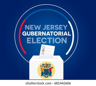 New Jersey gubernatorial election, and democracy political process selecting governor or parliament member with election and referendum. freedom to vote vector illustration