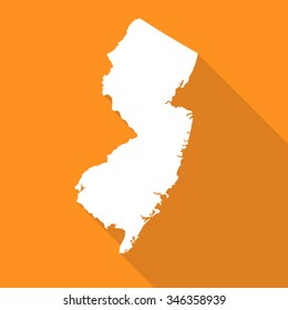 New Jersey map flat simple style with long shadow.