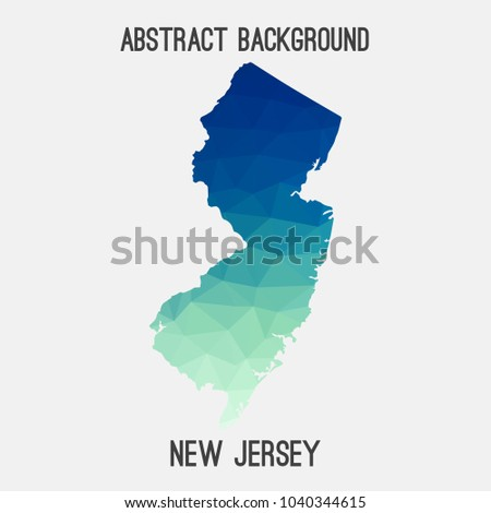 New Jersey Map Geometric Polygonalmosaic Style Abstract Stock ...