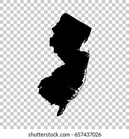 New Jersey map isolated on transparent background. Black map for your design. Vector illustration, easy to edit.