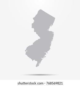 New Jersey map with shadow