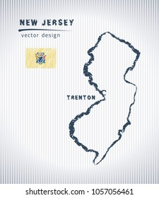 New Jersey national vector drawing map on white background