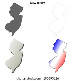 New Jersey outline map set - vector version