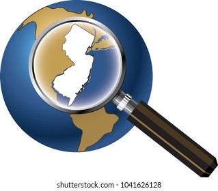 New Jersey State Map Enlarged with Magnifying Glass on Globe