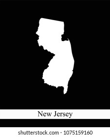 New Jersey state of USA map vector outline illustration black and white abstract background. Highly detailed creative map of New Jersey state of United States of America prepared by a map expert