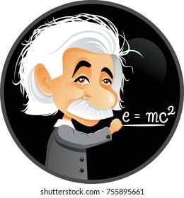 New Jersey, U.S., Albert Einstein Vector Cartoon Illustration. Editorial funny caricature portrait of a  genius scientist