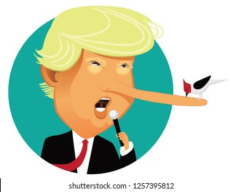 NEW JERSEY, USA, DECEMBER 13, 2018: Illustrative editorial caricature of Donald Trump with a long nose from lying. EPS10 vector illustration.
