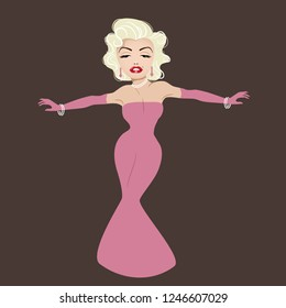 New Jersey, USA, DECEMBER 2 2018: Illustrative editorial caricature of actress Marilyn Monroe. Eps10 vector.