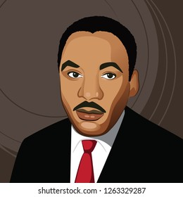 New Jersey, USA, December 20, 2018: Illustrative editorial caricature of Dr. Martin Luther King Jr. Eps10 vector illustration.