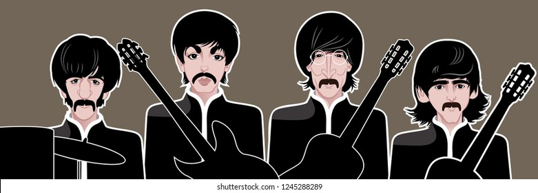 New Jersey, USA, NOVEMBER 26 2018: Illustrative editorial caricature of The Beatles with instruments. Paul McCartney, John Lennon, George Harrison and Ringo Starr. Eps10 vector.