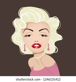 New Jersey, USA, NOVEMBER 26 2018: Illustrative editorial caricature of actress Marilyn Monroe. Eps10 vector.