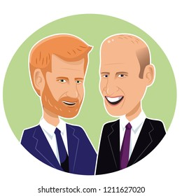 New Jersey, USA - October 24, 2018: Editorial caricature of Prince Harry and Prince William. EPS10 vector illustration.