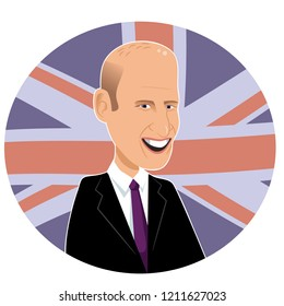 New Jersey, USA - October 24, 2018: Editorial caricature of Prince William. EPS10 vector illustration.