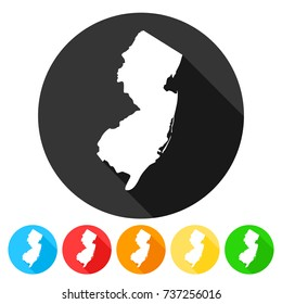 New Jersey USA Symbol Icon Round Flat Vector Art Design Color Set