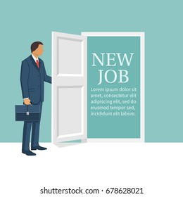 New job concept. Man opens door looking for work. Welcome employee. Successful businessman in suit with briefcase. Beginning of business career. Vector illustration flat design. Isolated on background