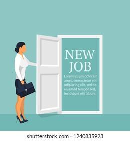 New job concept. Woman opens door looking for work. Welcome employee. Successful businesswoman in suit with briefcase. Beginning of business career. Vector illustration flat design.