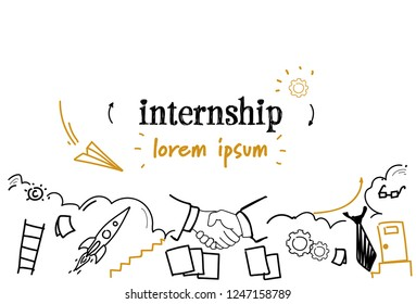 new job learning practice experience internship concept sketch doodle horizontal isolated copy space