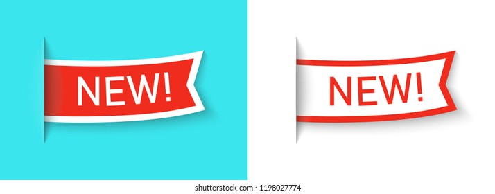 New label icon set isolated on a blue background. Side flag or bookmark. Red color special offer tag. Simple realistic design. Flat style vector illustration.