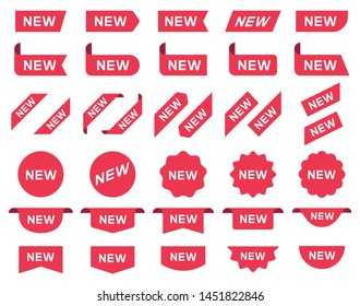 New label and tag. Sticker with word new. Vector illustration