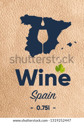 Map Of Spain To Label.New Label Wine Bottle Map Manufacturer Stock Vector Royalty Free