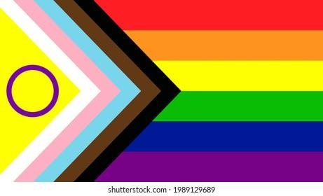 New LGBTQ Pride Flag Vector. New Updated Intersex Inclusive Progress Pride Flag. Banner Flag for LGBT, LGBTQ or LGBTQIA+ Pride. - Shutterstock ID 1989129689