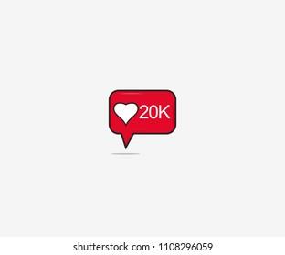 New Like 20K Notification Vector Illustration