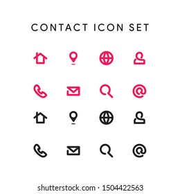 new line art of contact icon vector set , modern pink color on white background