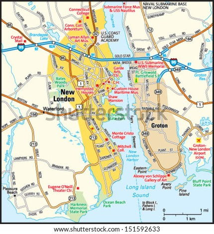 New London Connecticut Area Map Stock Vector Royalty Free