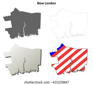New London County, Connecticut blank outline map set