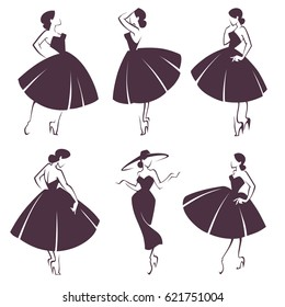 new look girls, vector collection of lady in retro style dress