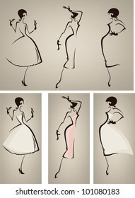 new look, vector collection of girls in retro dresses