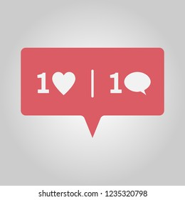 New love and comment, red social media popup notification message window icon