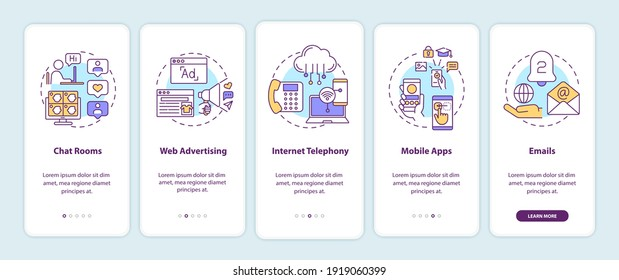 New media examples onboarding mobile app page screen with concepts. Chat rooms, internet telephony walkthrough 5 steps graphic instructions. UI vector template with RGB color illustrations