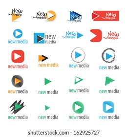 New Media Icons Set - Isolated On White Background - Vector Illustration, Graphic Design Editable For Your Design